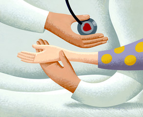 Illustration of doctor checking pulse of patient