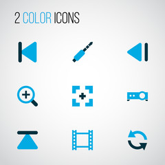 Music icons colored set with video, full screen, sync and other zoom in