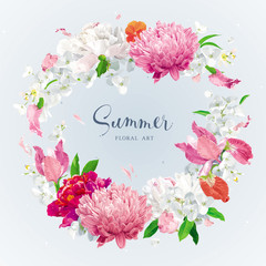 Red, pink and white spring and summer flowers vector wreath