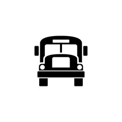 School Bus. Flat Vector Icon. Simple black symbol on white background