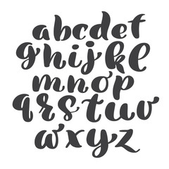 Vector Alphabet. Exclusive Custom Letters. Lettering and Custom Typography for Designs: Logo, for Poster, Invitation, etc. Handwritten brush style modern cursive font isolated on white background