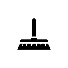 Cleaning Brush. Broom. Flat Vector Icon. Simple black symbol on white background