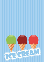 Vector abstract vintage background, ice cream in flat design