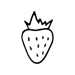 Linear cartoon hand drawn strawberry. Cute vector black and white doodle strawberry. Isolated monochrome strawberry silhouette on white background.