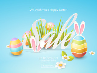 Vector flyer for Easter discount offers with colored eggs, grass, chamomiles and cartoon bunny ears. Holiday template for design of sale web banners or print posters on the blue background.