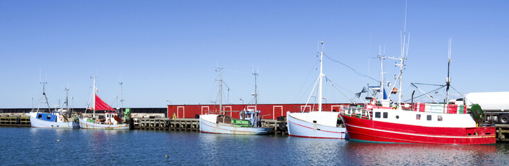 Denmark: The idyllic fishing port of Oesterby Havn on Laesoe island on a quiet summer day in august