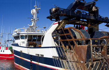 Laesoe / Denmark: Modern stern trawler in the fishing port of Oesterby Havn
