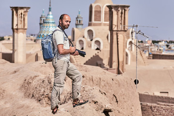 Solo traveler on a trip to Iran, Kashan ancient town.