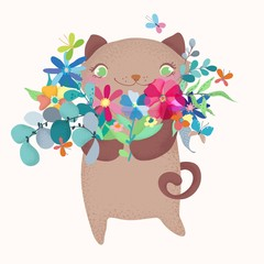 Cute and funny cartoon cat character with floral bouquet