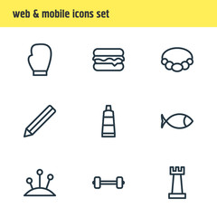 Vector illustration of 9 entertainment icons line style. Editable set of dart, watering can, easel and other icon elements.