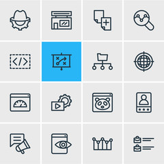 Vector illustration of 16 advertising icons line style. Editable set of social media campaign, marketing strategy, fresh content and other icon elements.