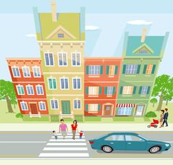 Stadtansicht mit Spaziergänger Illustration