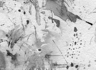 Abstract watercolor art hand-painted background, splatter with splashes, stains, ink, grey colour