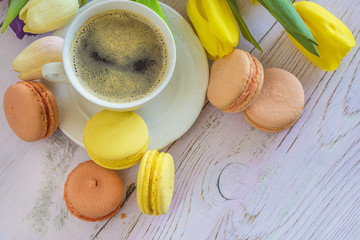 Coffee break with french macaroons