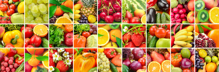 Lot images fruits, vegetables and berries in frame.