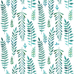 2d hand drawn watercolor seamless background. Colorful olives and lauris branches, leaves. Botanical elements. Pattern for textile, wrapping, branding, invitations isolated on white.