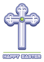 Cross is a symbol of Christianity and Easter greetings. Orthodox cross. Christianity religion symbol. Symbol of faith. Happy Easter. Vector illustration