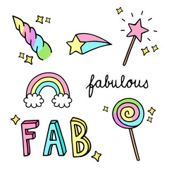 Fabulous, sparkling, magic, rainbow hand drawn doodle vector illustrations set. Unicorn horn, rainbow, magic wand, comet star, sweet lollipop and fabulous writings, isolated.