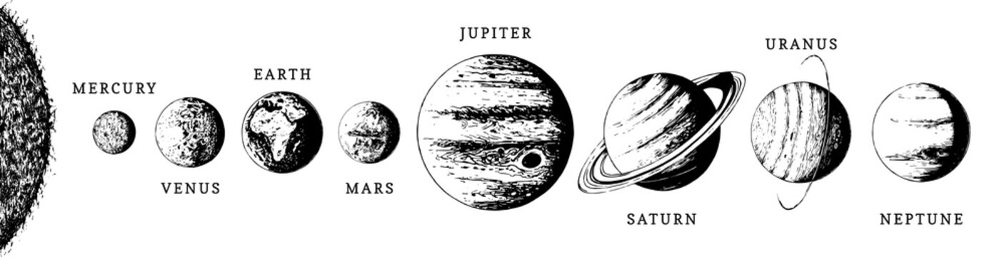 Solar system infographics in vector. Hand drawn illustration of eight planets