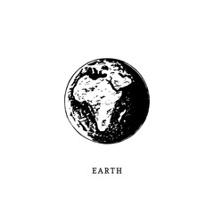 Earth planet image on white background. Hand drawn vector illustration