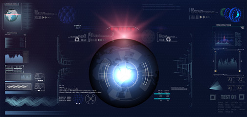 Futuristic VR Head-up Display Design. Sci-Fi Helmet HUD. Future Technology Display Design.