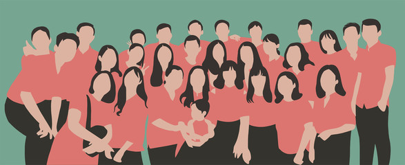 Flat illustration of young people, friends, classmates, students, colleagues, family posing for group photo