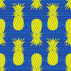 Vectorblue blue and yellow tribal pineapples stripes seamless pattern background. Great for fabric, wallpaper, invitations, scrapbooking.
