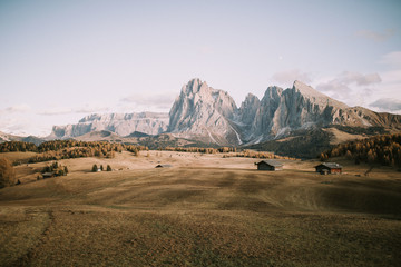 Dry field with houses and peaks