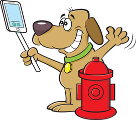 Cartoon illustration of a dog taking a selfie with a fire hydrant.