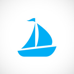 Blue sailboat vector icon