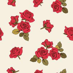 Red roses seamless pattern. Vector illustartion.