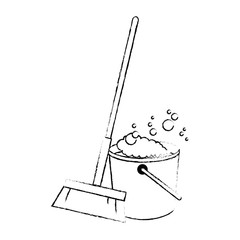 sweep broom with plastic bucket