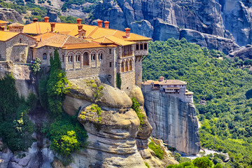 The Great Monastery of Varlaam on the high rock in Meteora, Thessaly, Greece Wall mural