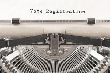 vintage typewriter. printed on the Vote Registration paper.