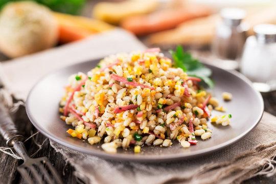 Barley salad with pumpkin seed oil