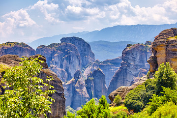 The Meteora greece mountain scenery with meteora rocks landscape place of monasteries on the rock