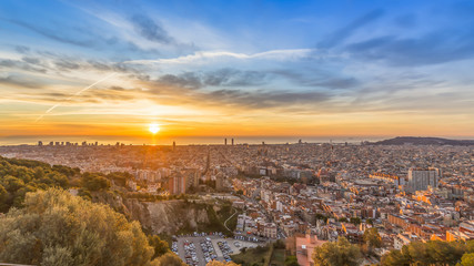 sunrises in barcelona landscape