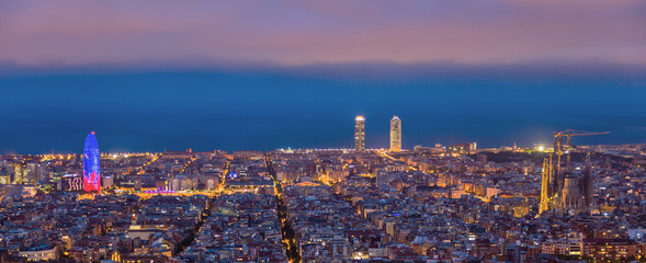 sunrises in barcelona landscape panoramic