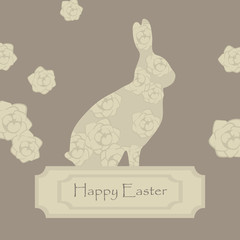 cute lace floral easter beige brown rabbit postcard with rose