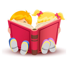 Little boy and girl reading book over white background.