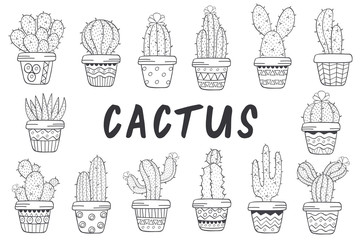 set of isolated cactus  black and white - vector illustration, eps