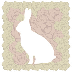 cute white floral easter beige brown rabbit postcard with pink rose