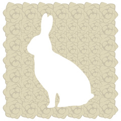cute floral easter white rabbit postcard with beige rose