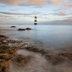 Penmon Point Lighthouse on the Anglesey Coast in North Wales.