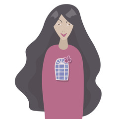 girl with dark hair in a pink sweater with a window and a butterfly isolated vector illustration on a white background