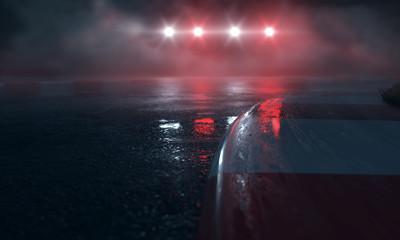 Zelfklevend Fotobehang Motorsport Nasse Rennstrecke mit Lichtern