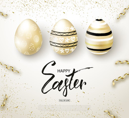 Happy Easter background with realistic golden shine decorated eggs and serpentine. Design layout for invitation, greeting card, ad, promotion, banner, poster, voucher. Vector illustration.