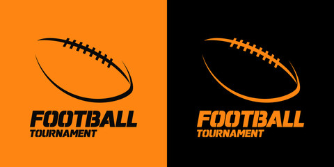 Banner or emblem design with American Football ball silhouette icon