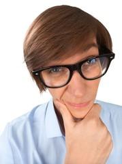 Smart young man in dress shirt holding chin