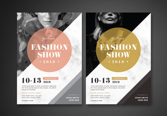 Fashion Show Flyer Layout with Marble Texture 1